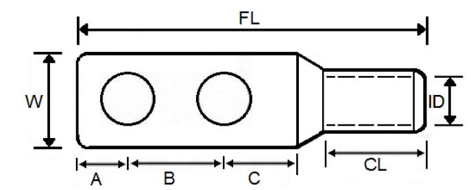 2 hole cable lug