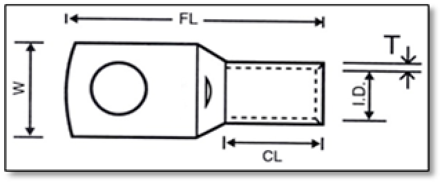 LV cable lug dimension